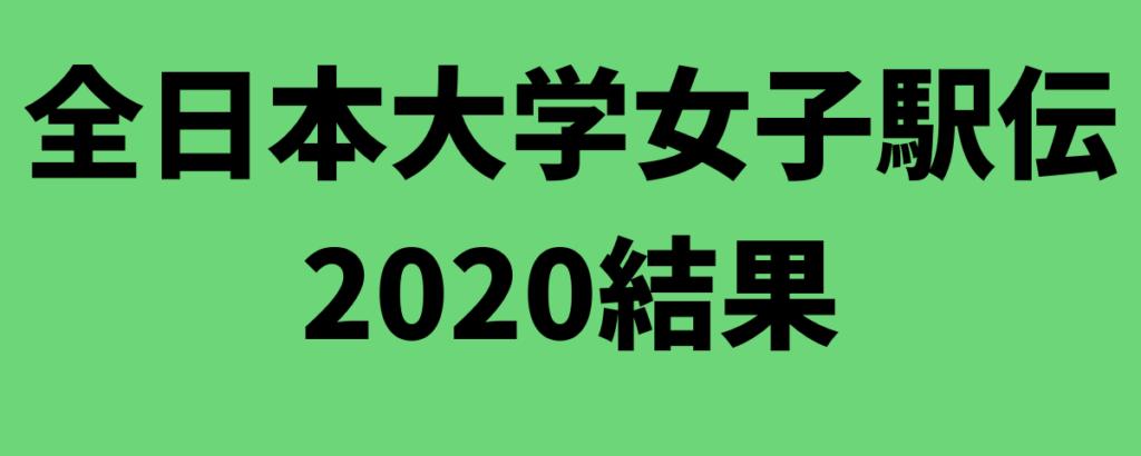 全日本大学女子駅伝2020結果