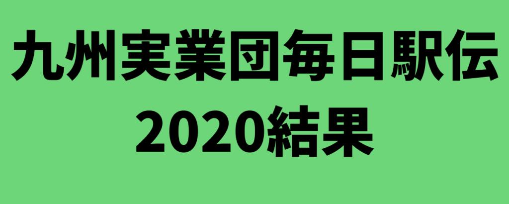 九州実業団毎日駅伝2020結果