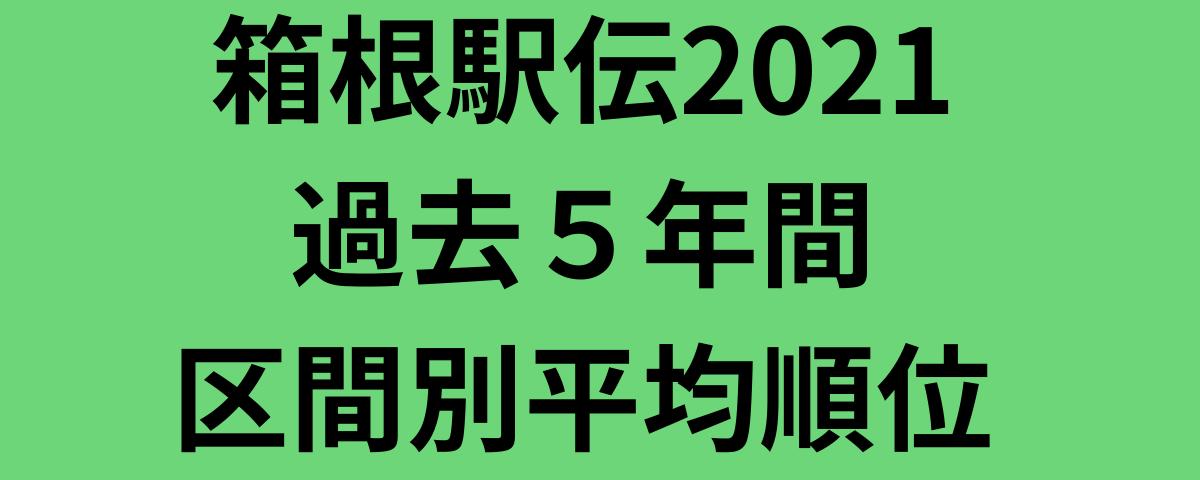 箱根駅伝2021過去5年間区間別平均順位
