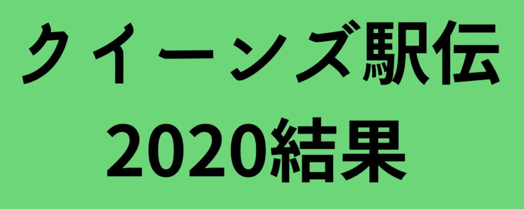 クイーンズ駅伝2020結果