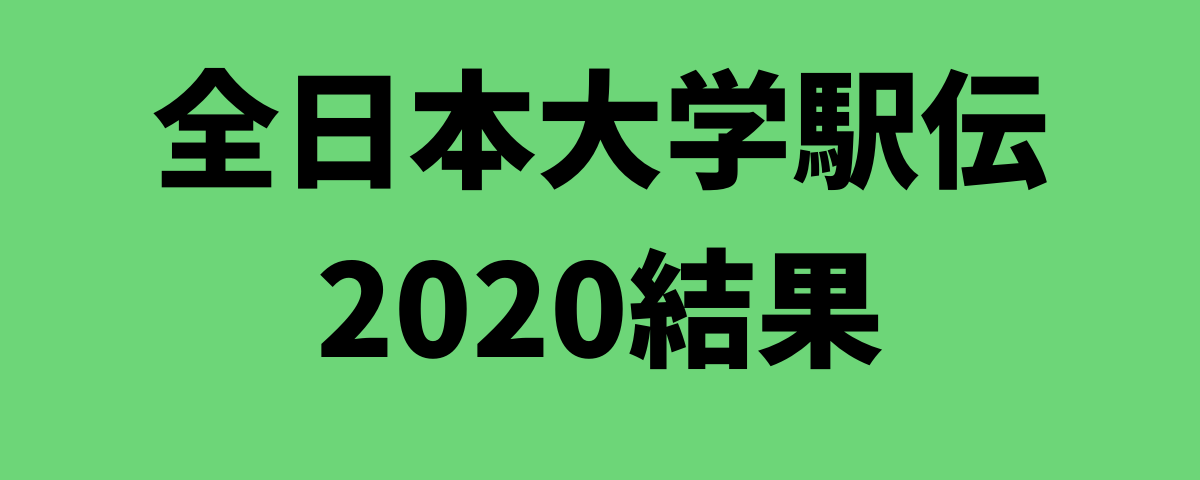 全日本大学駅伝2020結果