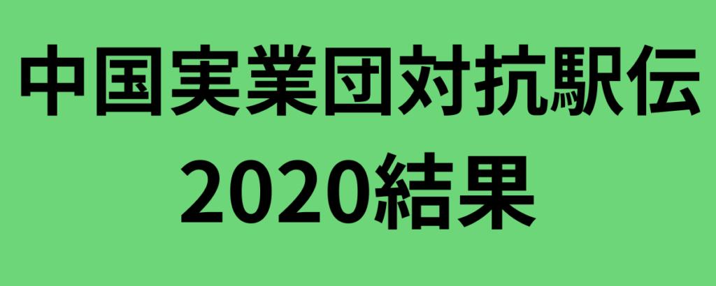 中国実業団対抗駅伝2020結果