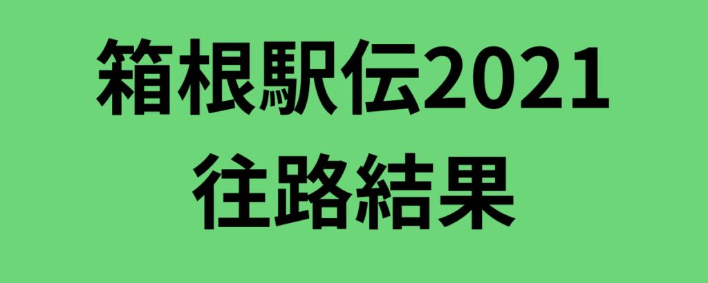 箱根駅伝2021往路結果